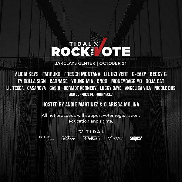 Watch TIDAL X Rock The Vote with Performances from Alicia Keys, Farruko, Lil Uzi Vert & More Tonight
