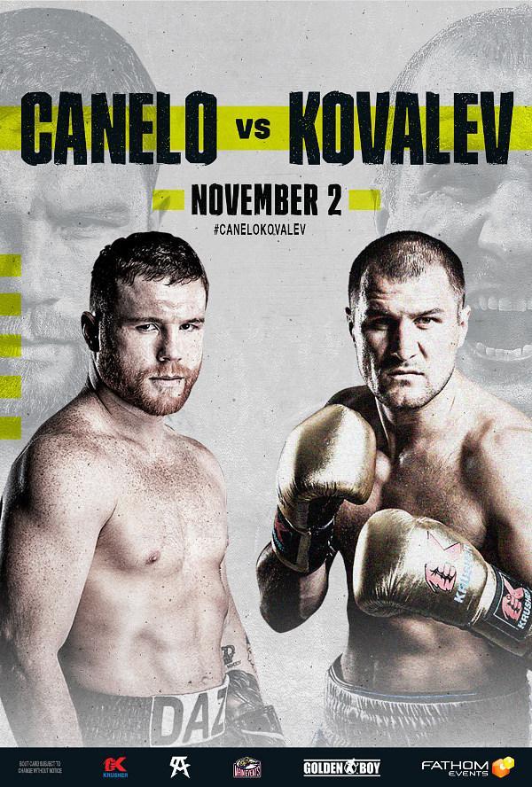 Canelo Alvarez and Sergey 'Krusher' Kovalev's Battle for the WBO Light Heavyweight World Title Live in U.S. Movie Theaters on November 2