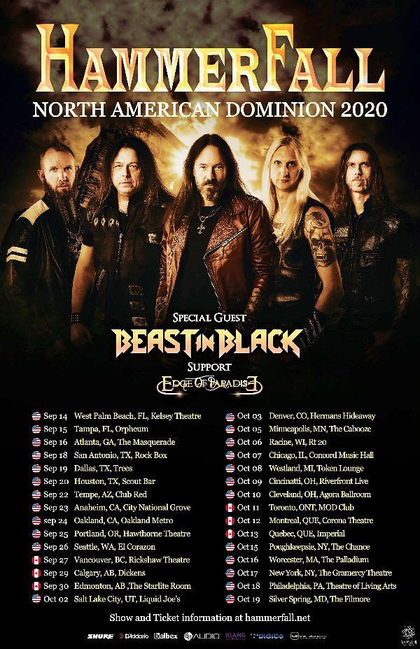 HammerFall North American Dominion 2020 Tour