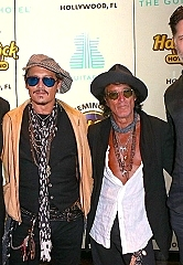 Morgan Freeman, Johnny Depp, Joe Perry and Joe Manganiello on the red carpet at Official Grand Opening of Seminole Hard Rock Hotel & Casino Hollywood (Florida)