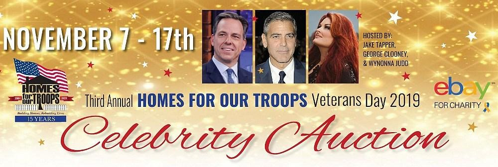 Homes for Our Troops 3rd Annual Veterans Day Celebrity Ebay Auction with Jake Tapper, George Clooney and Wynonna Judd to Raise Funds for Severely Injured Post-9/11 Veterans
