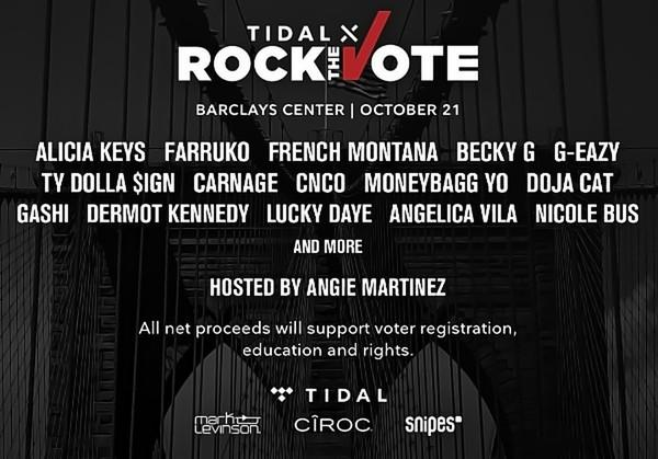 Alicia Keys, Farruko, French Montana, Becky G, G-Eazy And Many More To Perform At TIDAL X Rock The Vote Benefit Concert 10/21