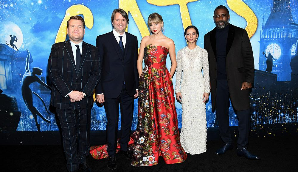 James Corden, Tom Hooper, Taylor Swift, Francesca Hayward, and Idris Elba attend The World Premiere of Cats, presented by Universal Pictures on December 16, 2019 in New York City. (Photo by Kevin Mazur/Getty Images for Universal Pictures)