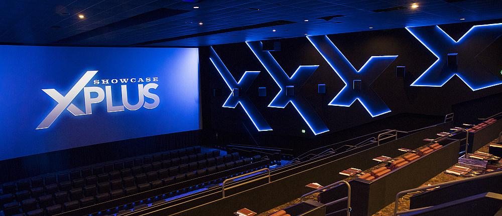 The new XPlus auditorium at Showcase Cinema de Lux Legacy Place in Dedham, MA has the only advanced Cinionic Giant Screen dual-laser projection screen on the East Coast.