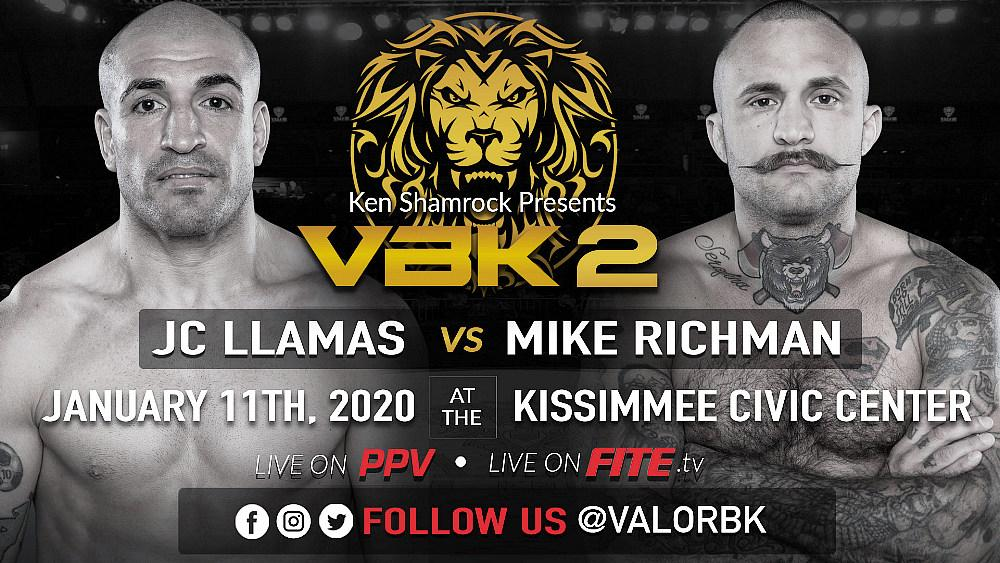 Ken Shamrock's Valor Bare Knuckle  to Present JC Llamas vs Mike Richman 2 on PPV January 11