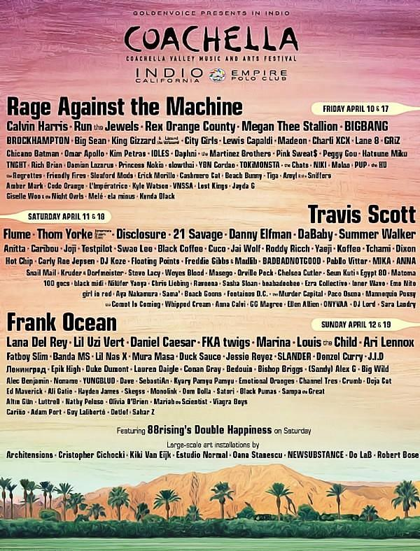 Coachella Valley Music and Arts Festival Announces 2020 Lineup Rage Against the Machine, Travis Scott and Frank Ocean to Headline, Weekend One Sold Out