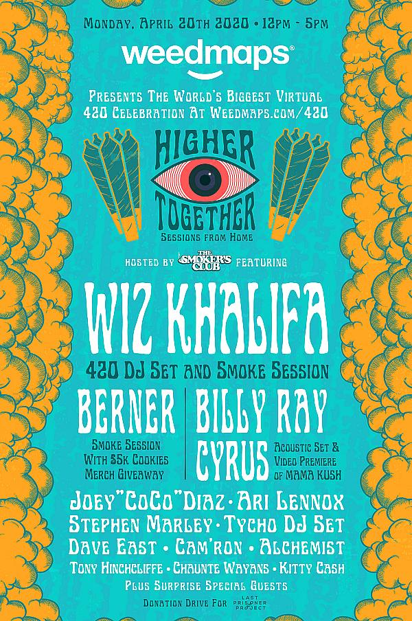 Wiz Khalifa, Billy Ray Cyrus, Ari Lennox, Joey 'CoCo' Diaz, Berner & Other Top Talent to Perform for World's Biggest 4/20 Virtual Celebration